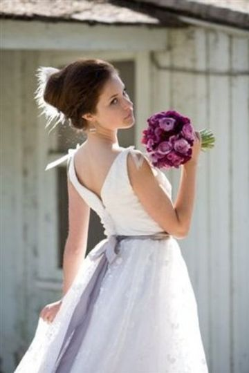 Embroidered organza ball gown style dress