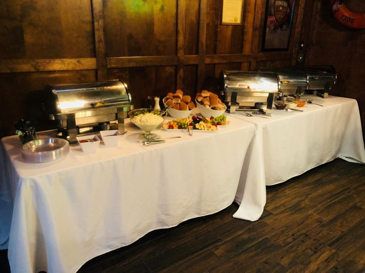 Buffet-style cuisine table