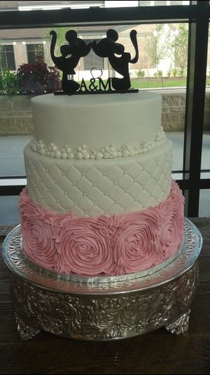 Mickey and Minnie - Themed Wedding Cake at Faith Bible Church in The Woodlands, TX