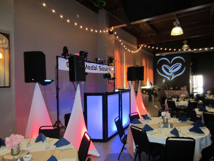 Gold Package set up with stock gobo heart and rings projection add on.  We can customize the...