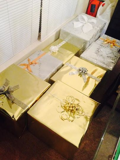 I wrapped all the gifts that the bride received through the mail.