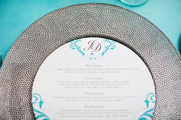Round Menu Card placed in Charger