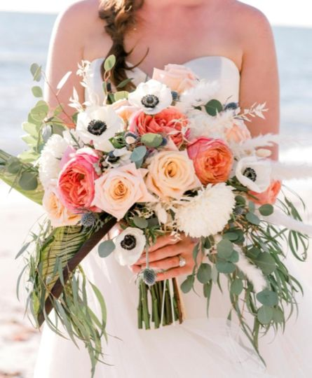 Holding the bouquet