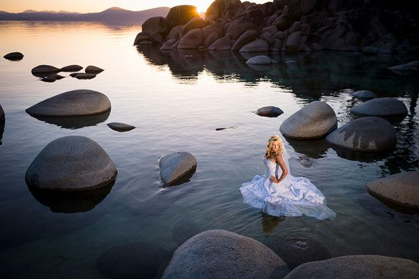 Lake Tahoe bride during a trash the dress session at Sand Harbor