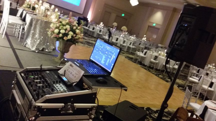 DJ's mixing table and reception
