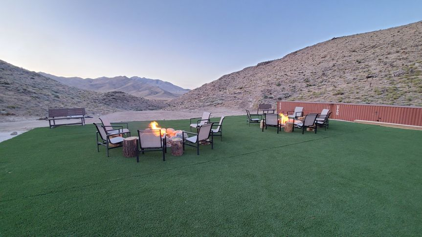 Fire pits and helipad