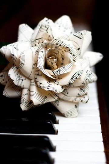 "small paper flower duchess bouquet from thecrimsonpoppy.com - 4"" duchess rose made of vintage sheet..."