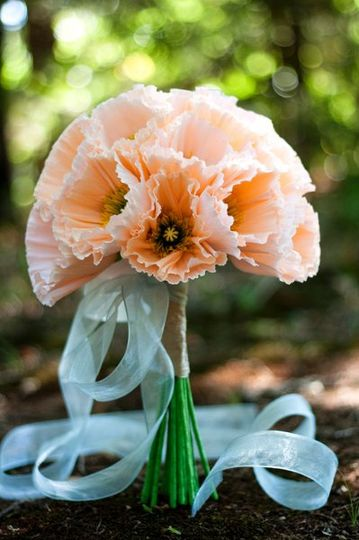 "classic (9"") paper flower bouquet - iceland poppies in peach and palest peach, with hand-tinted..."