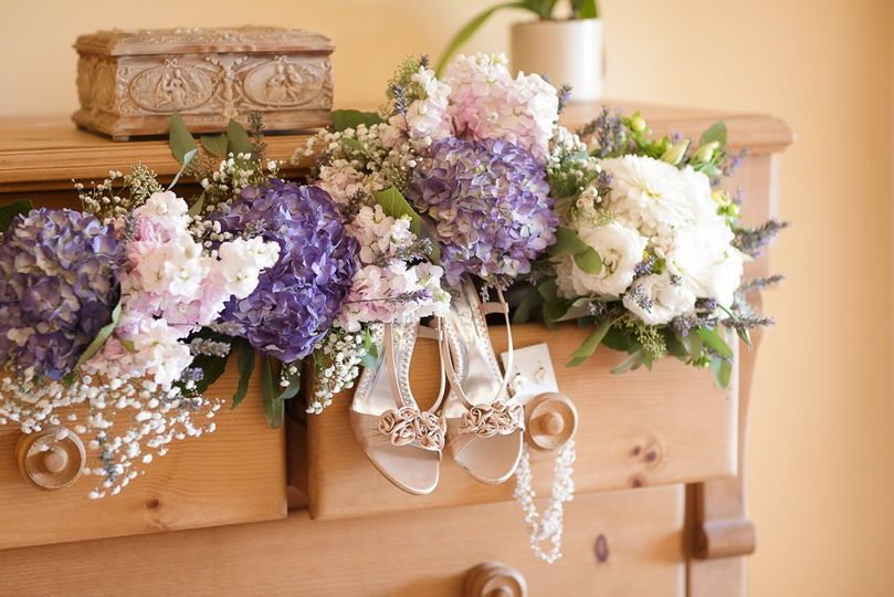 Wedding flowers and the bride's shoes