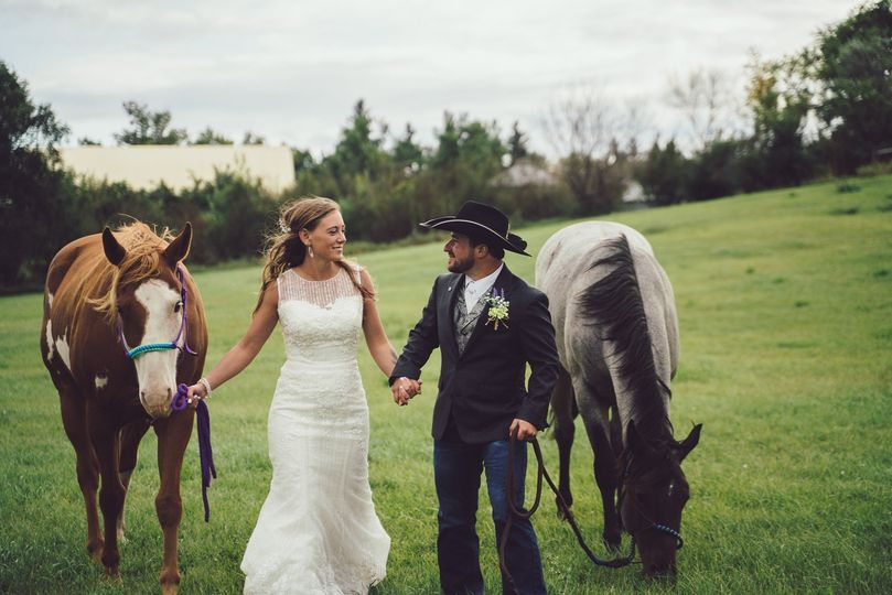 Bride  and groom with Horses