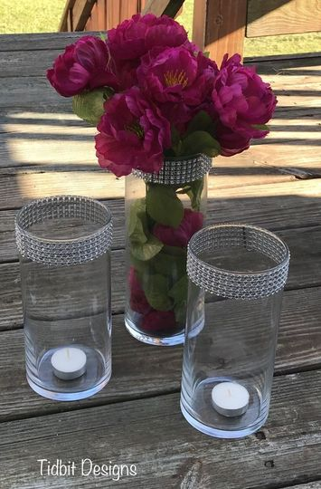 Bling Wrapped Glass Cylinder Wedding Centerpiece Vases...