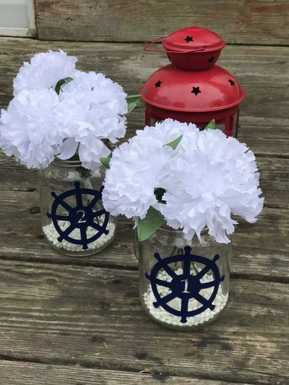 Nautical Ship Wheel Wedding Table Numbers / Vinyl Decals...