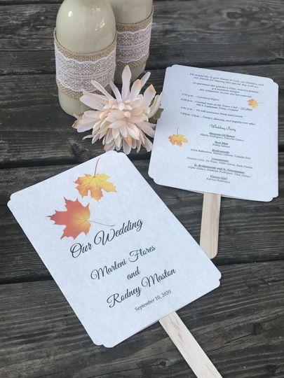 Autumn Leaves Wedding Paddle Program Fans - Personalized / Favor...