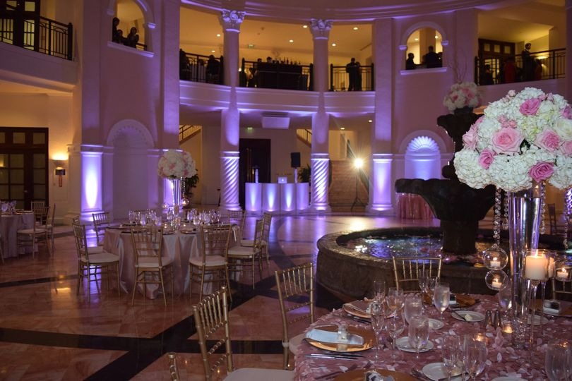 Dj & up lighting at hotel colonnade in coral gables, florida.