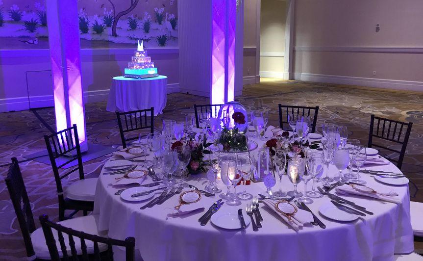 Princess wedding with purple uplighting