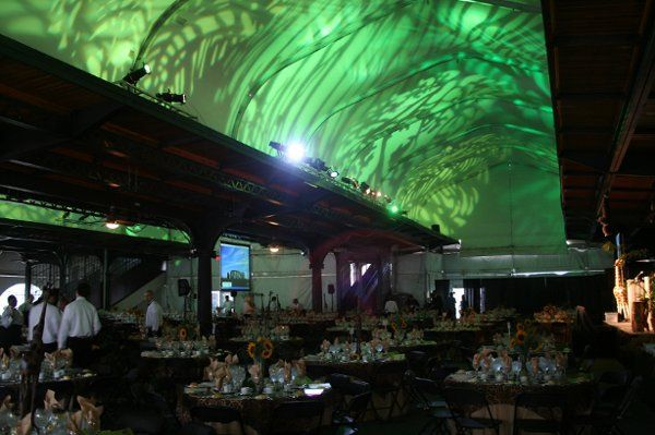 Another ceiling design- Bright green leaves overhead create an immersive experience for a themed...