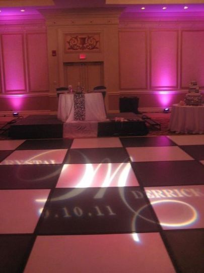 This is another fun monogram gobo design, along with a couple pink uplights!