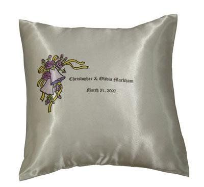 Give your maid of honor and brides' maids a beautiful polysatin pillow with all of your wedding info...