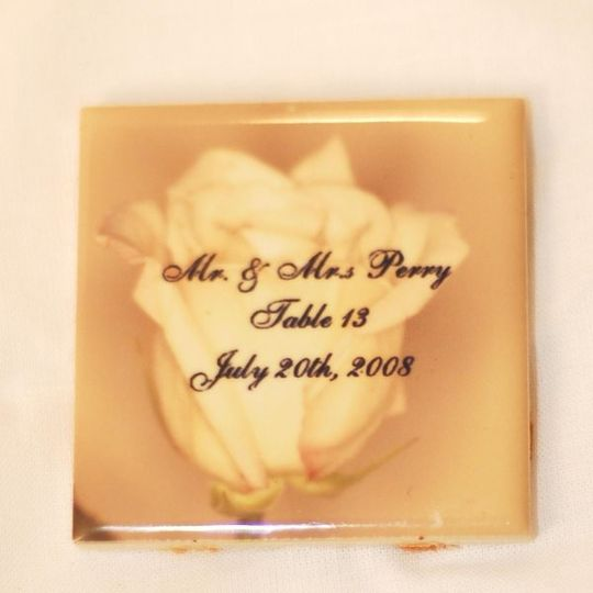 Our ceramic products are a classy way to display your wedding information.  We customize all of our...