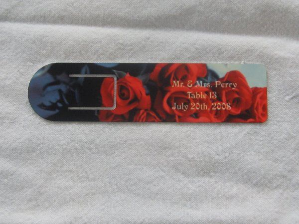 book marker with custom place card information, retail $9, however please call us for personalized...