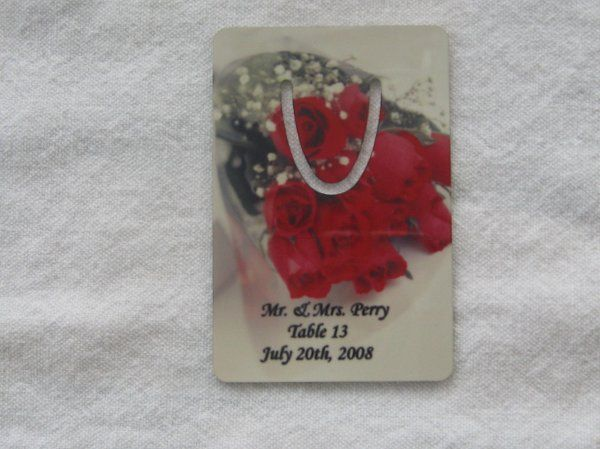 custom book marker with place card information, retail $9, however please call us for personalized...