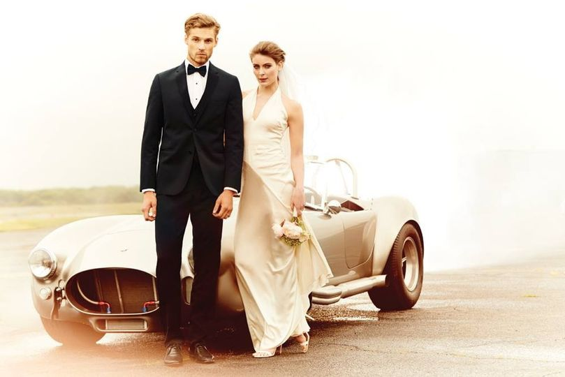 Sleek tuxedo and wedding dress