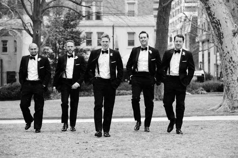 Dapper groom and groomsmen