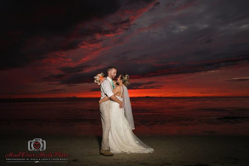 Newlyweds and the sunset