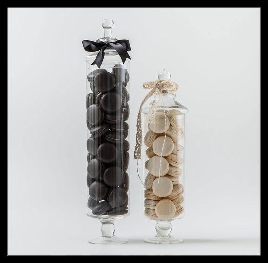 black white jars