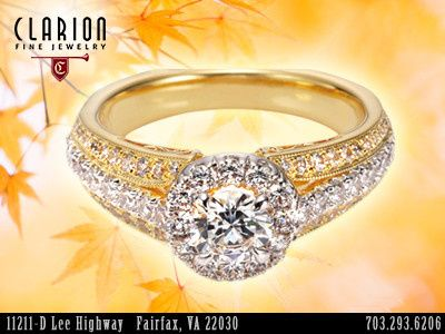 Custom engagement ring from Clarion Fine Jewelry. PHONE: 1-703-293-6206...