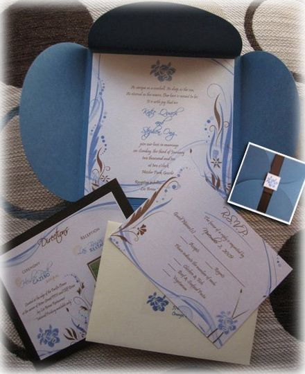 Beach Themed Wedding Invitation with Blue and Brown colors.  Accented with waves, seashells,...