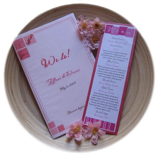 Cherry Blossom Themed Wedding Program and Menu with Pink, Fuschsia, Dusty Rose colors.
