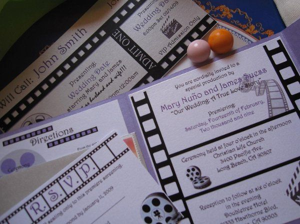 Cinema/Movie Themed Wedding Invitation with matching Ticket Stub Place Cards and purple and silver...