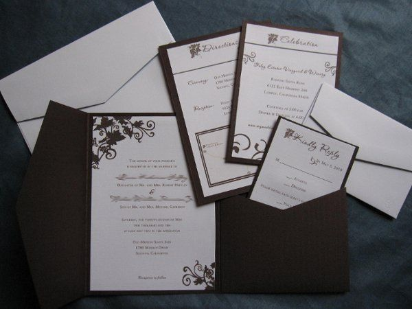 Winery Themed Wedding Invitations with Grapes and Vines in Ivory and Chocolate Brown Accent Colors