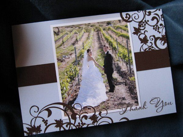 Winery, Vino, Wine Themed Thank You Cards and Invitations with Powder Blue and Chocolate Brown...