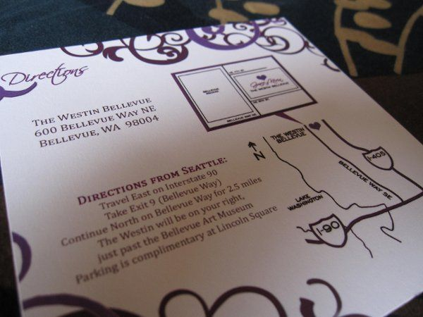 Damask Style Wedding Directions Card with Map