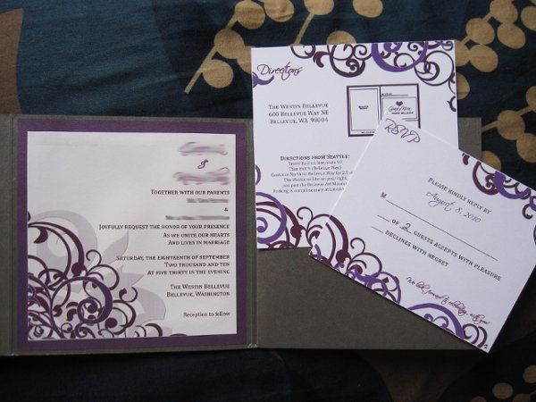 Damask Style Wedding Invitations with Purple and Gray Accent Colors in a Pocket Envelopment