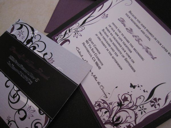 Floral and Swirl Inspired Wedding Invitations with Butterflies and Black and Violet Accent Colors