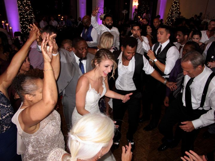 Newlyweds and their guests partying