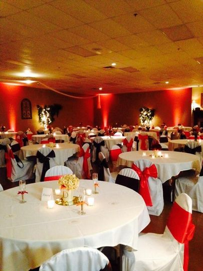 White and red reception setup