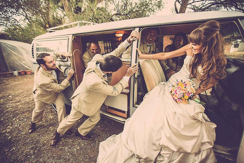 VW Volkswagen Microbus Wedding Getaway