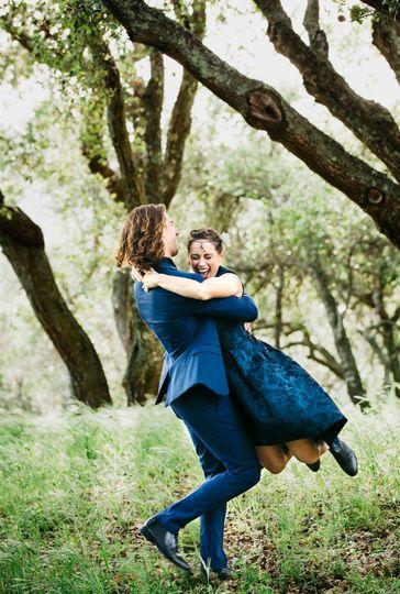 Bride and groom dancing in Oak Trees, Santa Barbara wine country wedding, Santa Barbara CA.