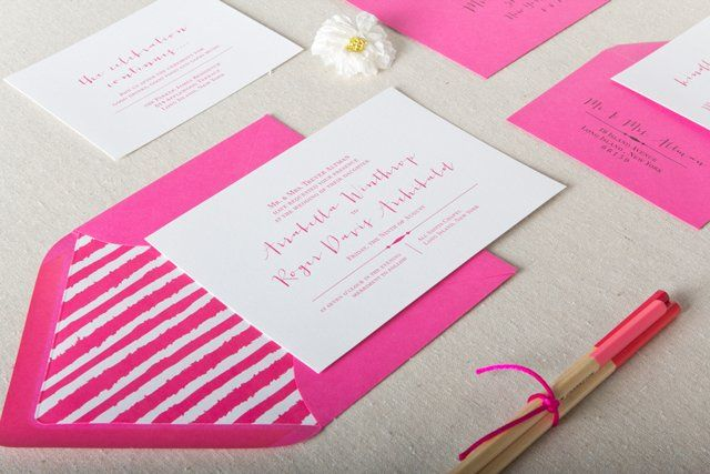 Hot pink wedding invites for the modern, trendy bride. Pink wedding stationery with modern...