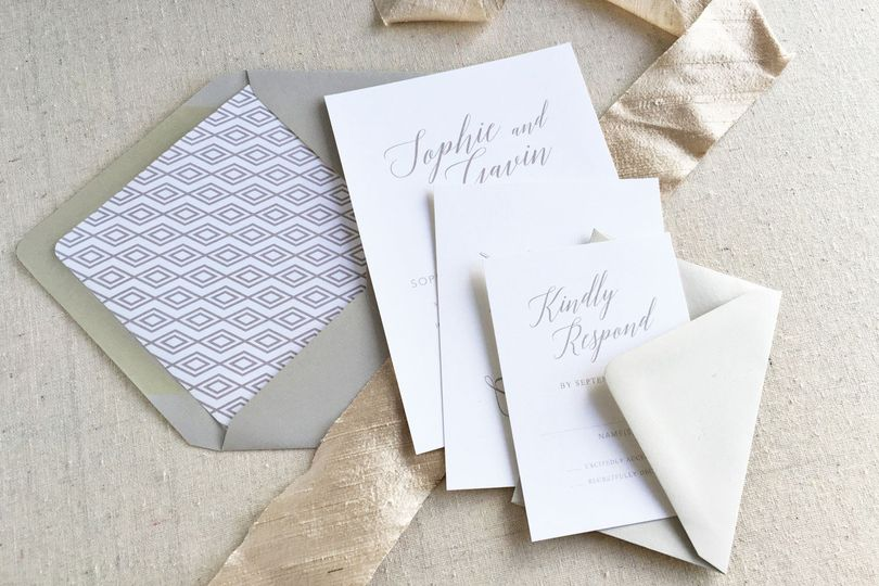 The Alice wedding suite is sophisticated and modern. Shown here in shades of grey, this invitation...