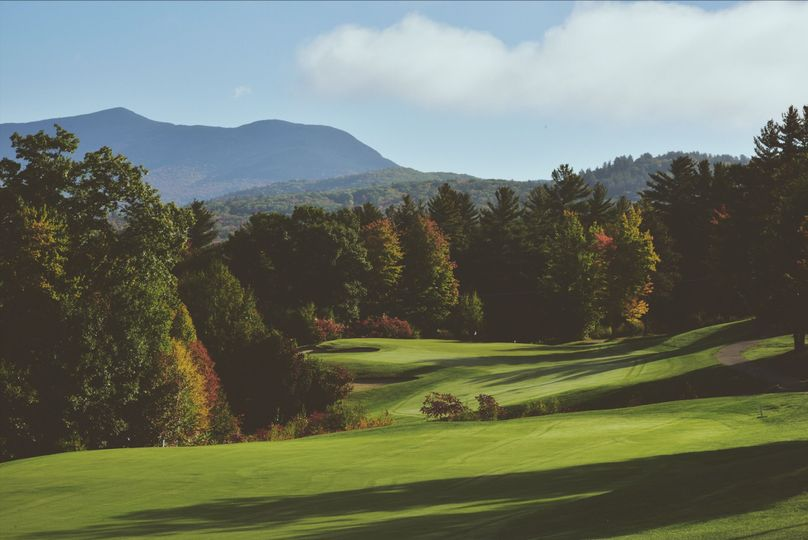 Shot from the course. Beautiful views of the white mountains surround the area of the resort.