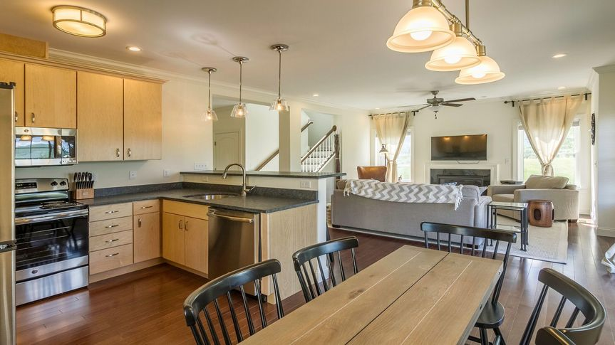 Gambrel living room and kitche
