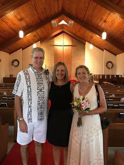 Rev Kim Hodges with the newlyweds