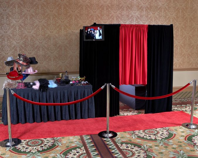 Red Velvet Photo Booth with Red Carpet Layout   6' by 6' Velvet Booth (fits up to 15 adults)