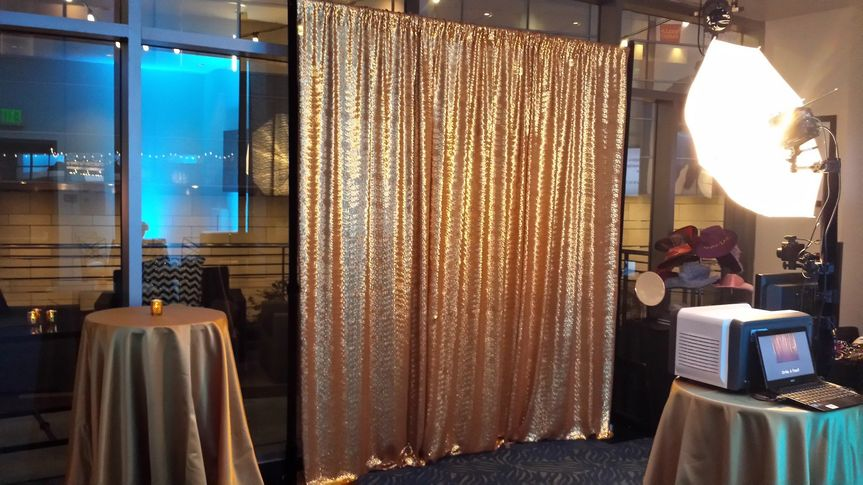 gold sequin backdrop setup
