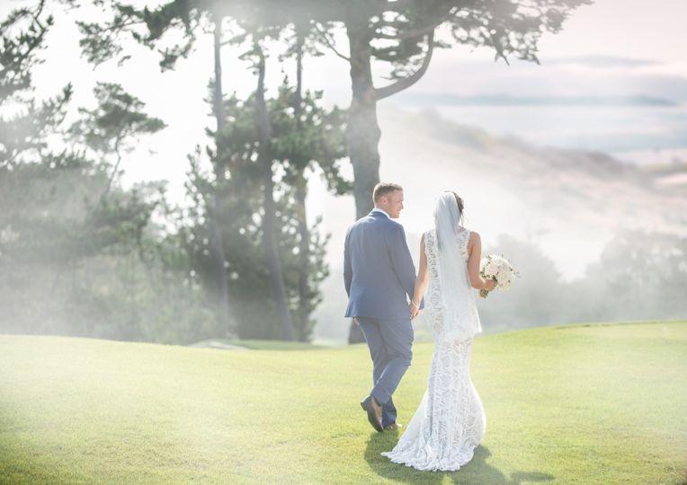 Foggy wedding stroll